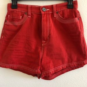 UO Red high waisted denim shorts